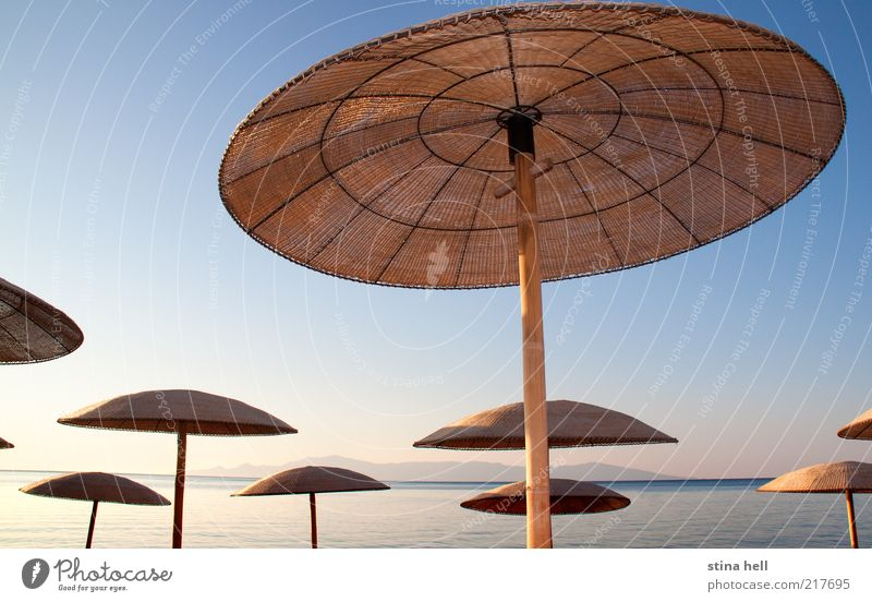 UNDER THE MEDITERRANEAN SUN - UMBRELLAS Nature Beautiful Blue Summer Joy Beach Vacation & Travel Yellow Dream Landscape Gold Horizon Esthetic Target