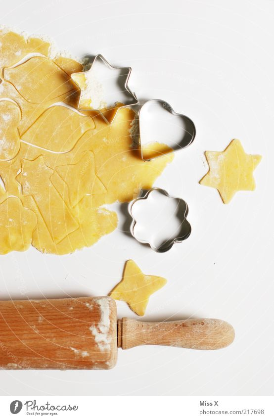 Christmas & Advent Food Nutrition Cooking & Baking Sweet Star (Symbol) Delicious Candy Baked goods Dough Raw Cookie Flour Christmas biscuit Pierce Isolated Image