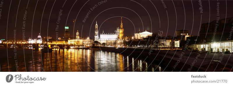 Flux of light (Panorama Dresden) Night Black Yellow White Architecture Elbe