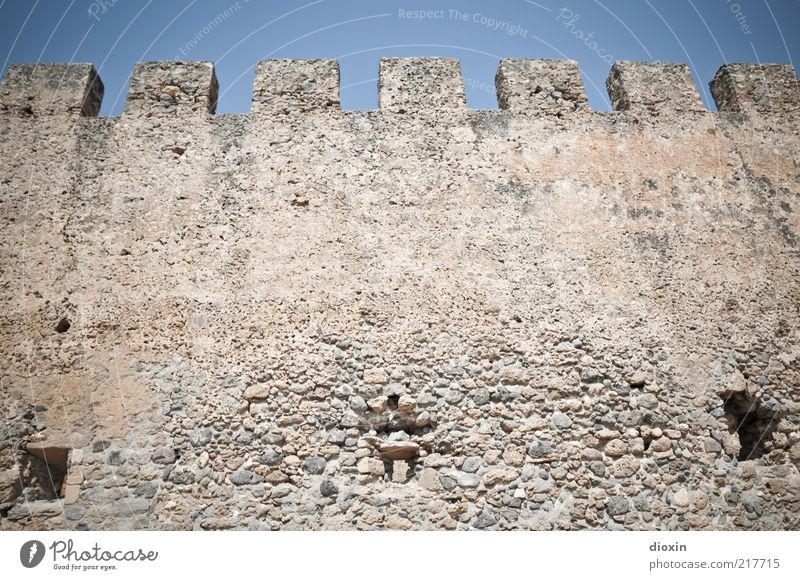 in ancient times [2] Tourism Trip Sightseeing Summer Sun Crete Greece Deserted Ruin Manmade structures Architecture Wall (barrier) Wall (building) Merlon