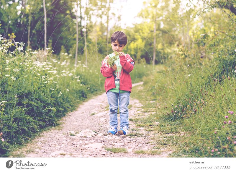 child with flowers in spring Lifestyle Joy Human being Masculine Child Toddler Boy (child) Infancy 1 3 - 8 years Environment Nature Spring Plant Flower Garden