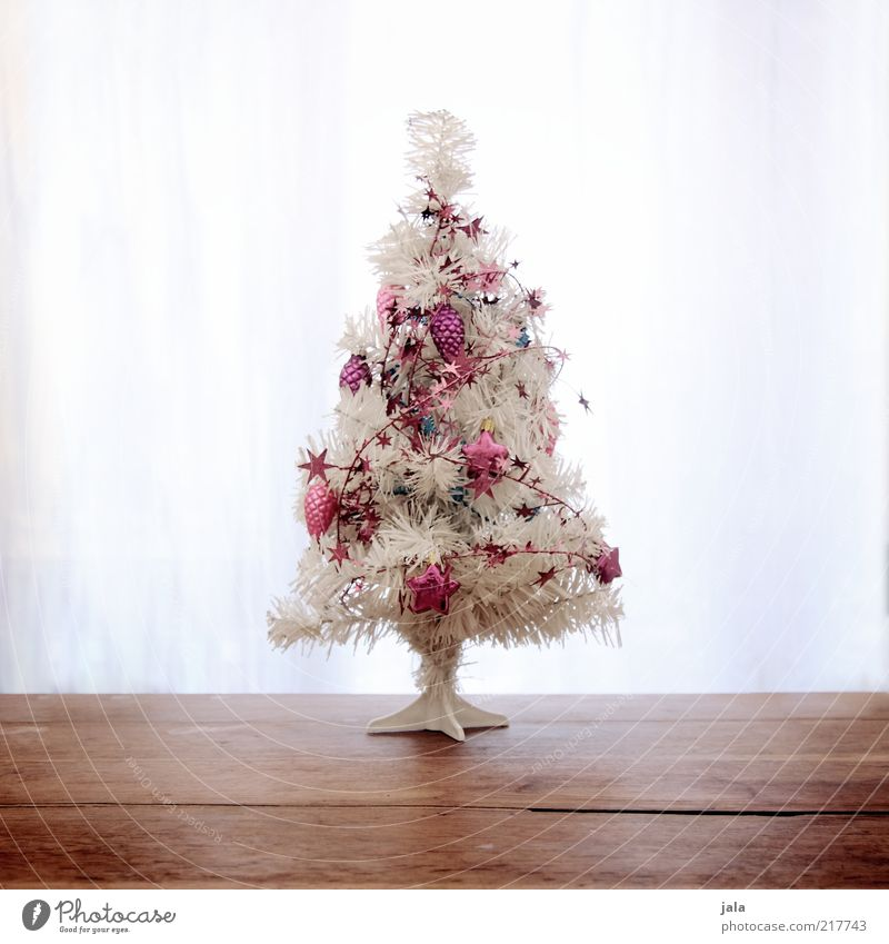 Christmas & Advent White Wood Feasts & Celebrations Small Pink Christmas tree Kitsch Decoration Christmas decoration Light Event Odds and ends