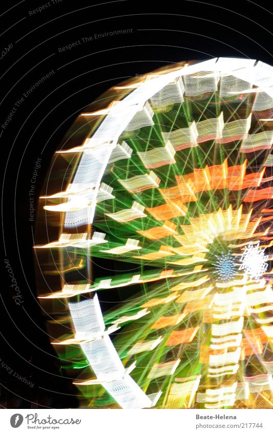 Spinning wheel - Ferris wheel at night Leisure and hobbies Night life Event Park Tourist Attraction Feasts & Celebrations Esthetic Exceptional Large Joy