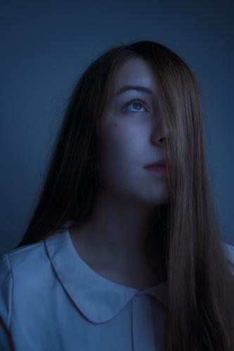 Girl with long hair in the moonlight Human being Feminine Young woman Youth (Young adults) Hair and hairstyles Face 1 13 - 18 years 18 - 30 years Adults