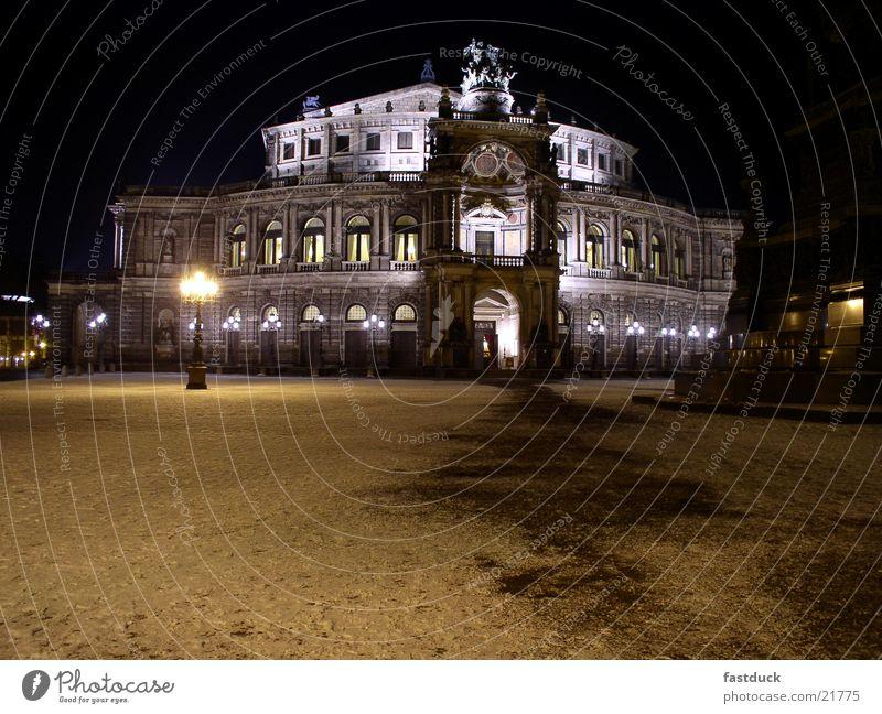 Semper Opera Dresden Winter Night Black White Architecture