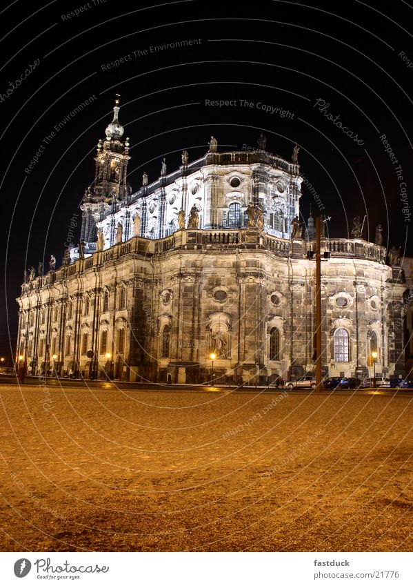 court church Dresden Winter Night Red Black White Historic Cathedral
