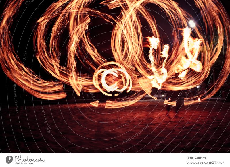 Flame Copyright Lifestyle Yellow Gold Juggle Fire Beach Incandescent Long exposure copyright Colour photo Exterior shot Night Motion blur Wide angle Circle