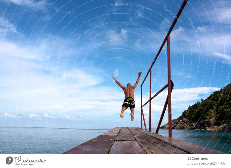 The leap into freedom - The leap into the water Man Adults 1 Human being Landscape Water Sky Clouds Summer Beautiful weather Ocean Thailand Fitness Flying
