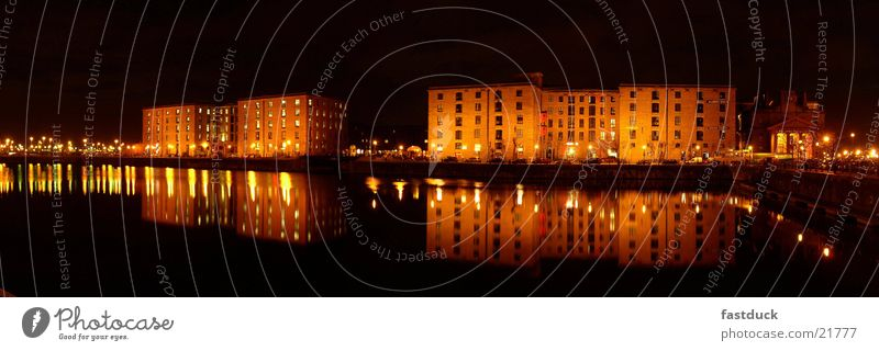 Liverpool Docks (Panorama) England Night Yellow Black Panorama (View) Architecture spitting Water Light Large Panorama (Format)