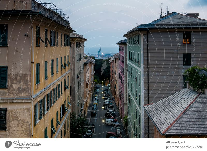 Street in Genoa overlooking the sea and the port Europe Italy Genua Port City Crane Container terminal Deserted Loneliness Apartment Building Escape