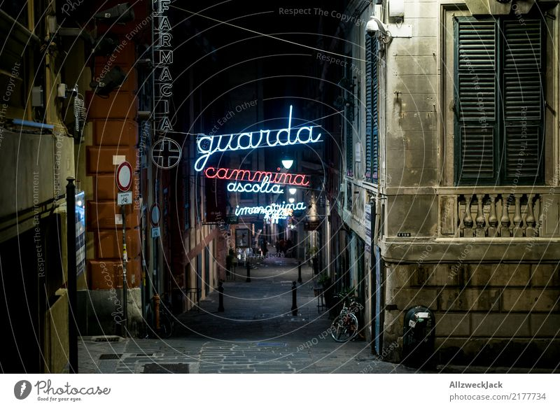 Lane with neon lettering in Genoa Vacation & Travel Sightseeing House (Residential Structure) Town Port City Street Loneliness Europe Italy Genua Alley