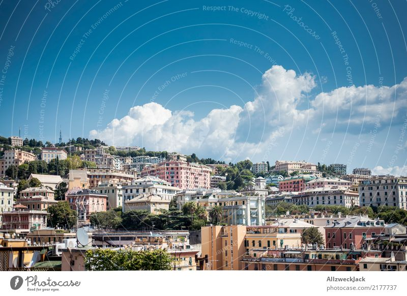Genoa Skyline 4 Colour photo Exterior shot Day Panorama (View) Deserted Trip Sightseeing City trip Summer Summer vacation Port City House & Houses Maritime Town