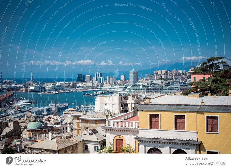 Genoa Skyline 3 Colour photo Exterior shot Day Panorama (View) Deserted Trip Sightseeing City trip Summer Summer vacation Port City House & Houses Maritime Town