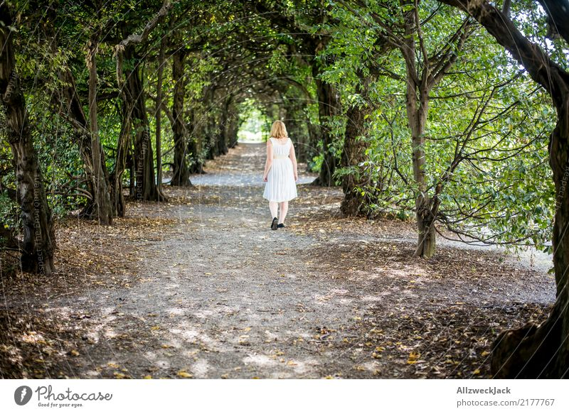 Human being Woman Nature Summer Green White Tree Relaxation Loneliness Calm Forest Adults Lanes & trails Feminine Going Trip