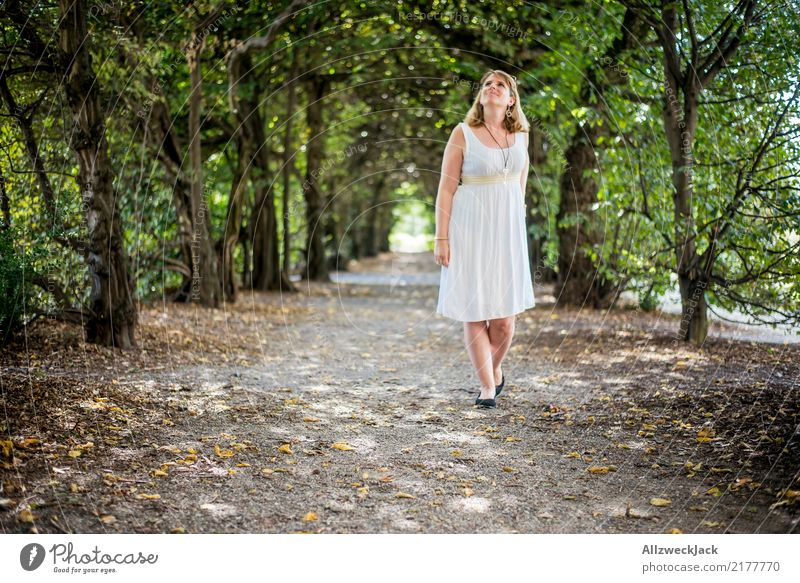 Woman Nature Summer Green White Tree Relaxation Loneliness Calm Forest Lanes & trails Feminine Going Trip Park Blonde