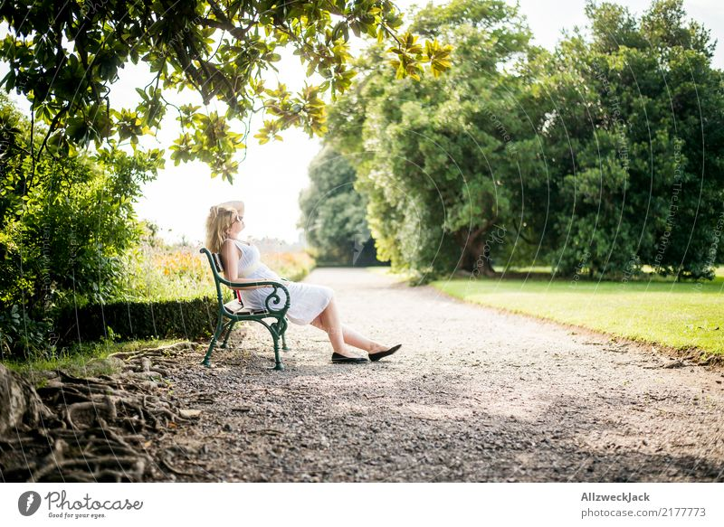 In park 2 Relaxation Calm Meditation Vacation & Travel Trip Summer Summer vacation Sunbathing Feminine Woman Adults 1 Human being Beautiful weather Tree Garden