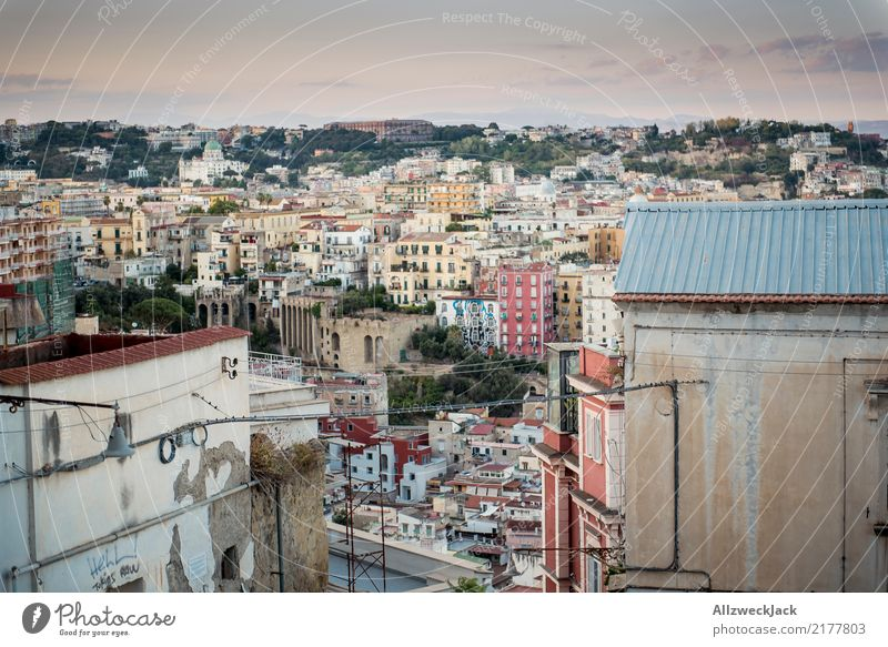 Sunset in Naples with a view of the city Day Evening Twilight Dusk Italy Vacation & Travel Travel photography House (Residential Structure) Panorama (View)