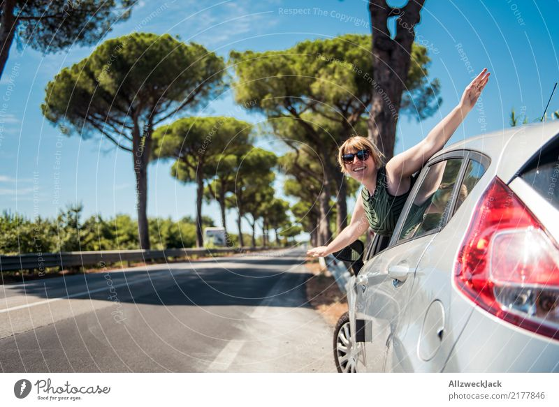 road trip Colour photo Exterior shot Day Trip Summer Relaxation Calm Nature Tree Forest Green Romance Loneliness Hot Summery Street Avenue Italy Tuscany Driving