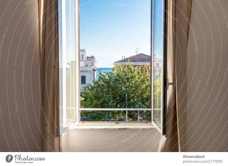 open window with sea view Day Window Open Vantage point View from a window Summer Beautiful weather Vacation & Travel Panorama (View) Ocean Blue sky Deserted