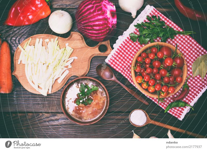 traditional Ukrainian borscht Red Dish Eating Wood Vantage point Table Kitchen Vegetable Hot Tradition Bowl Plate Dinner Meat Meal Cooking