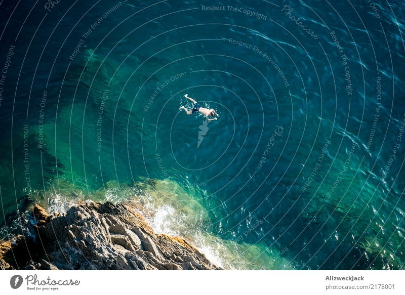 free float 3 Colour photo Exterior shot Day Bird's-eye view Copy Space left Tourism Trip Adventure Freedom Summer Summer vacation Ocean Body Man Bay To enjoy