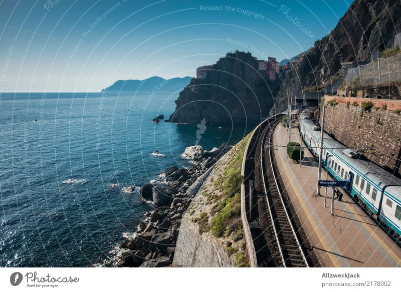Vacation & Travel Blue Summer Water White Ocean Freedom Trip Transport Wait Italy Railroad Summer vacation Cloudless sky Hot Railroad tracks