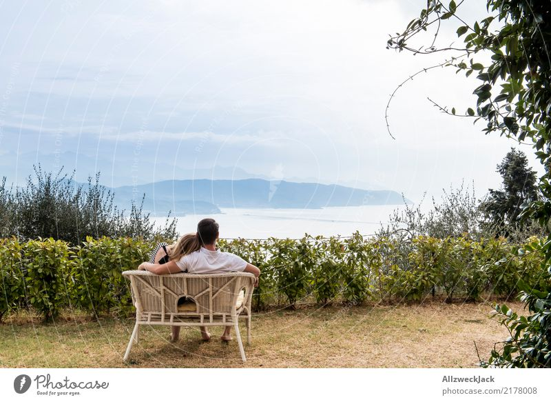 bench with a view Happy Harmonious Well-being Relaxation Vacation & Travel Freedom Sofa Young woman Youth (Young adults) Young man Couple Partner 2 Human being