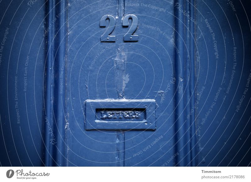 Blue House (Residential Structure) Wood Door Digits and numbers Mailbox Great Britain Name plate
