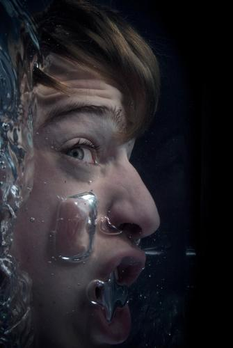 When the water's up to your neck Human being Masculine Adults Head Face 18 - 30 years Youth (Young adults) Water Aggression Dark Fluid Creepy Wet Pain Fear