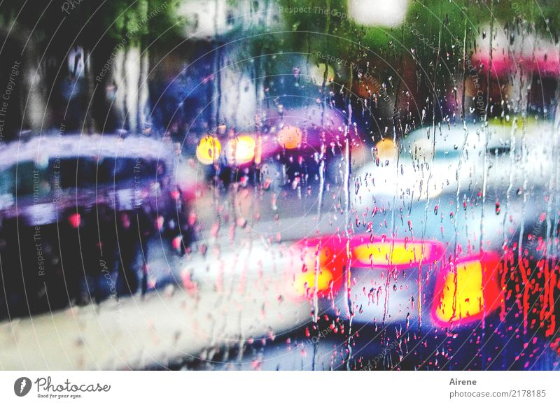 Town Street Rain Transport Car Gloomy Drops of water Speed Wet Fluid Chaos Mobility Window pane Motoring Environmental pollution Stagnating