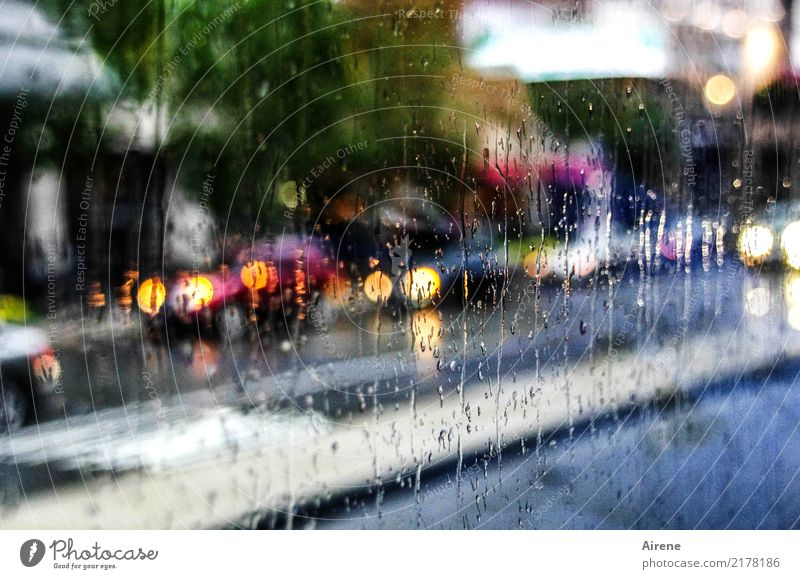 rush shower Water Drops of water Weather Bad weather Storm Rain Town Transport Means of transport Traffic infrastructure Motoring Street Car headlights Glass