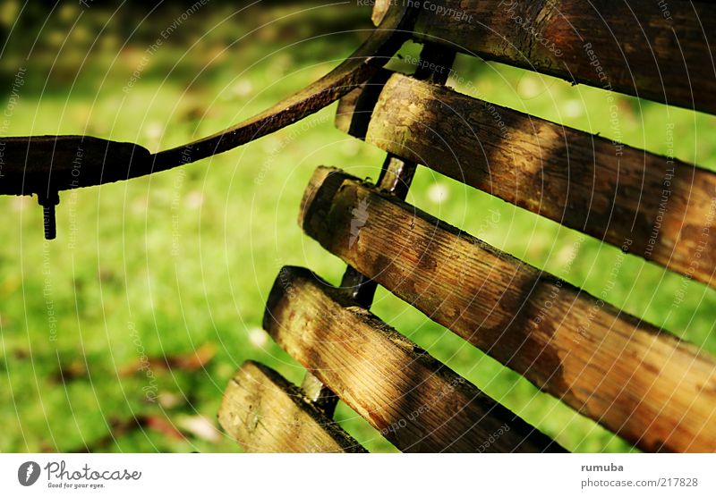 Nature Old Green Calm Meadow Autumn Grass Wood Brown Bench Simple Beautiful weather Iron Screw Furniture Park bench
