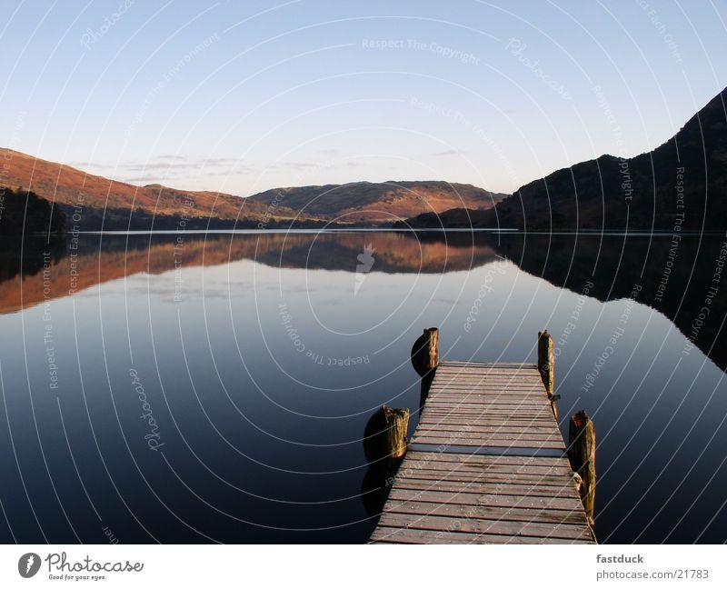 Water Blue Red Mountain Lake Footbridge England Great Britain Ullswater Lake District National Park
