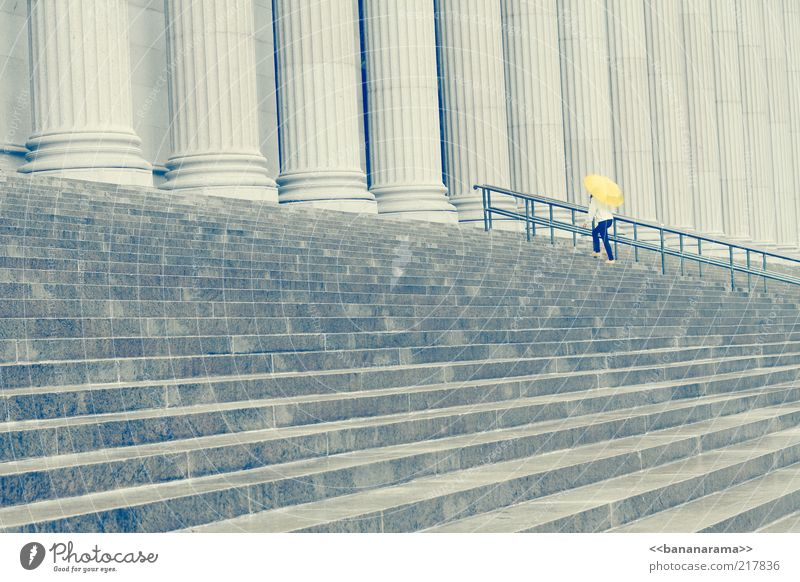 Woman Loneliness Yellow Architecture Gray Stone Stairs Concrete Might Handrail Umbrella Manmade structures Monument Banister Column Upward