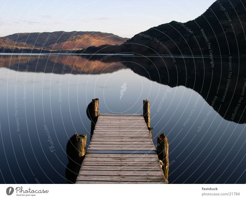 Water Blue Cold Mountain Lake Footbridge England Great Britain Sunrise Ullswater Lake District National Park