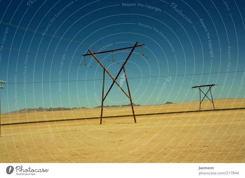 Sky Summer Loneliness Far-off places Street Sand Landscape Horizon Electricity Beautiful weather Blue sky High voltage power line