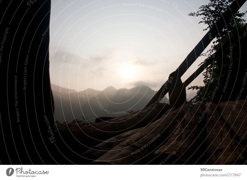 The view of the mountains in the north of Thailand Nature Landscape Sky Horizon Sun Sunrise Sunset Beautiful weather Plant Hill Mountain Deserted Stairs Balcony