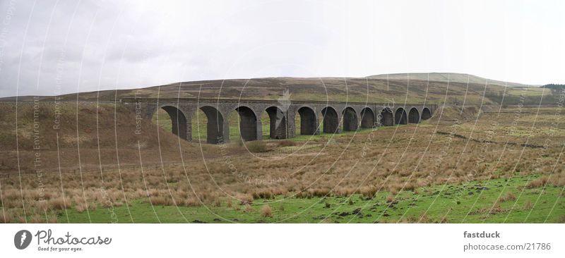 Grass Landscape Large Transport Railroad Bridge England Panorama (Format) Great Britain