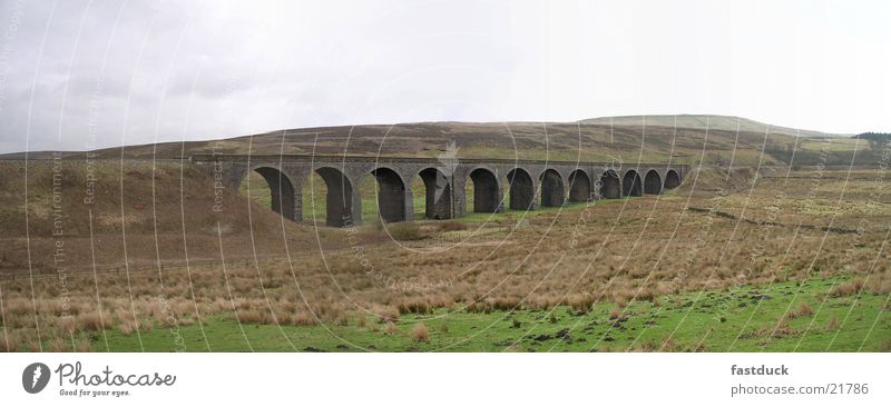 Yorkshire Dales Viaduct (Panorama) England Panorama (View) Great Britain Grass Transport yorkshire dales Landscape Bridge Railroad viaduct Large