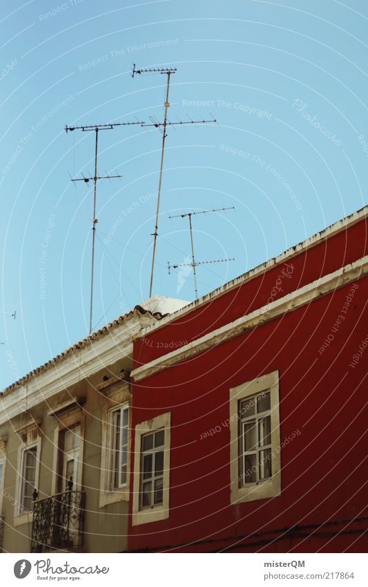 Red Calm House (Residential Structure) Window Architecture Facade Tall Esthetic Roof Telecommunications Media Whimsical Shabby Antenna Portugal Cloudless sky