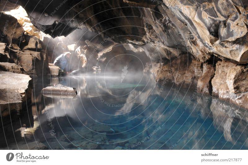 ladies' bath Rock Hot Cave Source Hot springs Water Health Spa Natural phenomenon Harmonious Calm Esthetic Reflection Shaft of light Turquoise Blue Deep