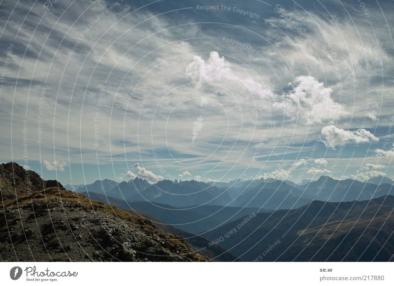 Sky Blue Summer Vacation & Travel Calm Clouds Loneliness Relaxation Mountain Vantage point Alps Infinity Peak Beautiful weather Wanderlust Mountain range