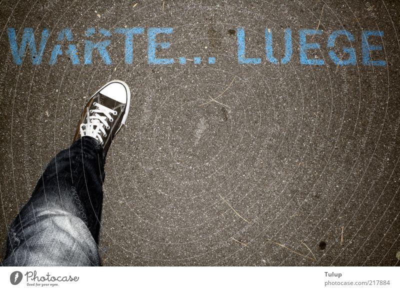 Human being Adults Legs Feet Going Wait Characters Jeans Asphalt Chucks Lie (Untruth) Pedestrian