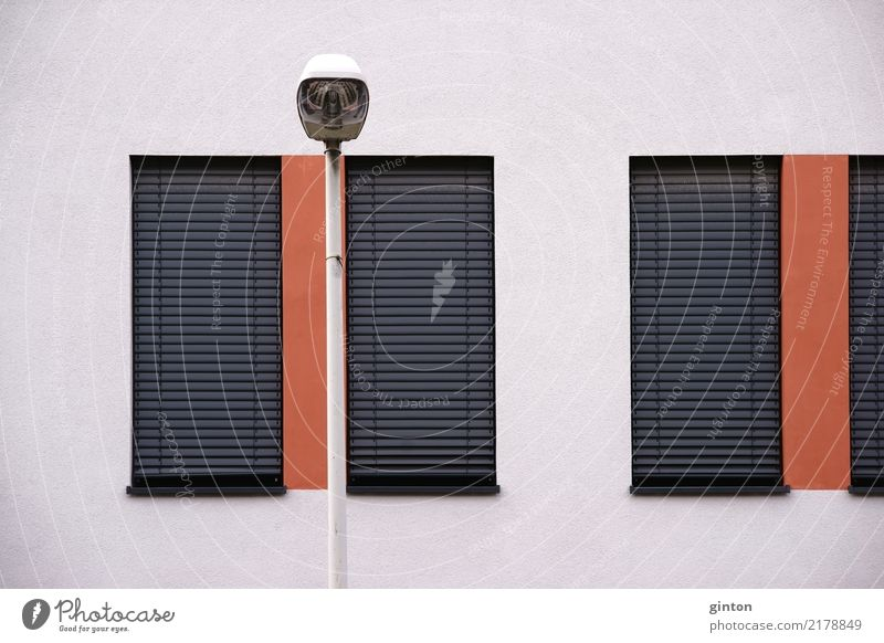 Street lighting in front of residential building Design House (Residential Structure) Building Architecture Facade Window Venetian blinds Sharp-edged Simple