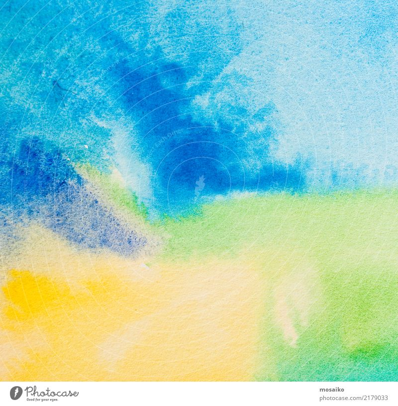 watercolours on textured paper - abstract background design Child Blue Colour Green Yellow Background picture Style Art School Design Contentment Retro