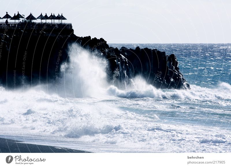 Nature Water Ocean Blue Far-off places Freedom Landscape Power Coast Waves Fear Wind Environment Horizon Rock Might