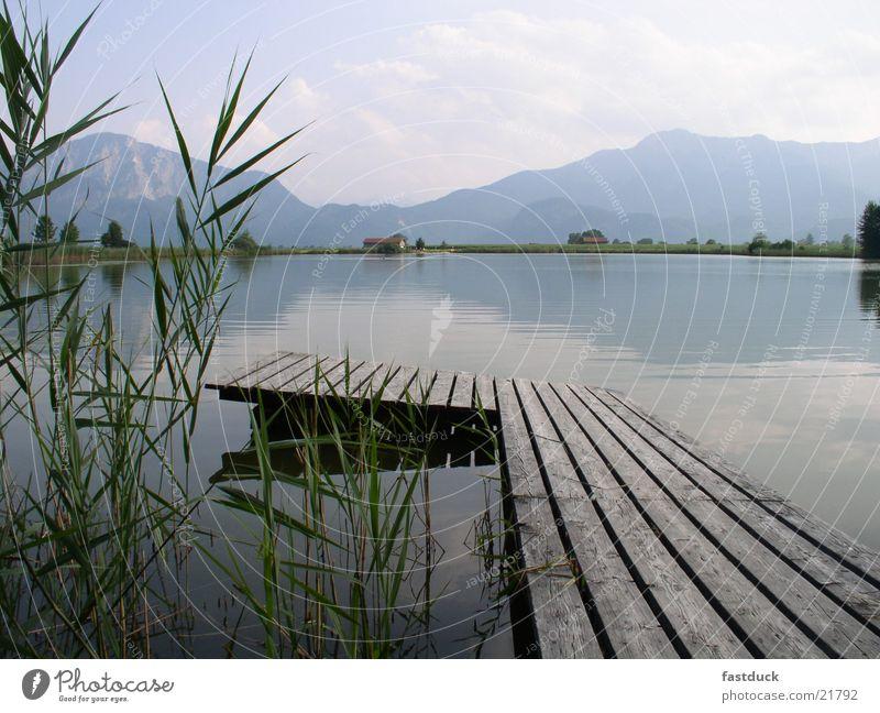silence Bavaria Lake Mountain Green Reflection Summer Footbridge benediktbeuern karl orff carmina burana Water Blue