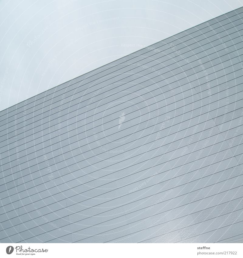 Sky Blue Wall (building) Gray Wall (barrier) Line Facade Esthetic Gloomy Simple Positive Graphic Abstract Norway Light blue Cloudless sky