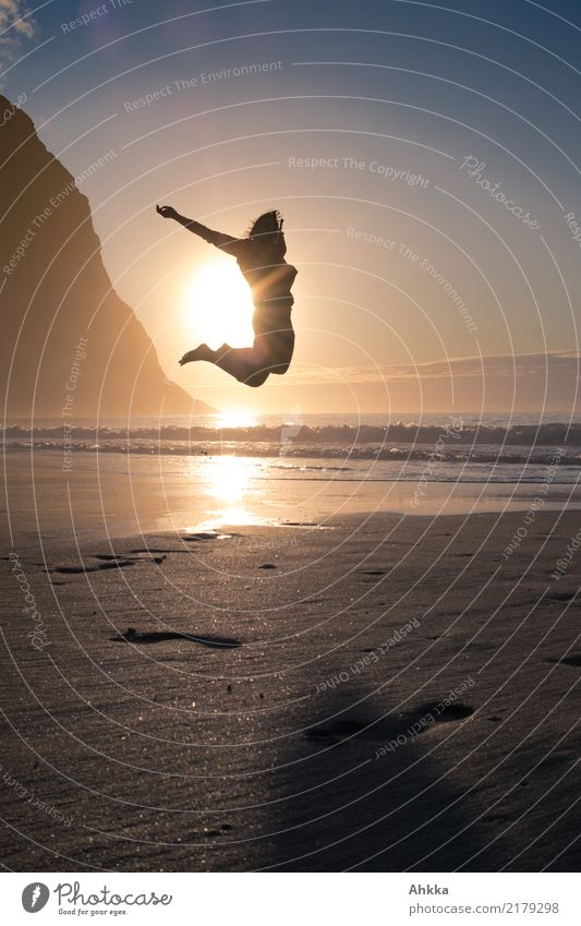 Joie de vivre, leap into the sun by the sea, Lofoten, summer Well-being Contentment Relaxation Calm Meditation Adventure Freedom Beach Ocean Young woman