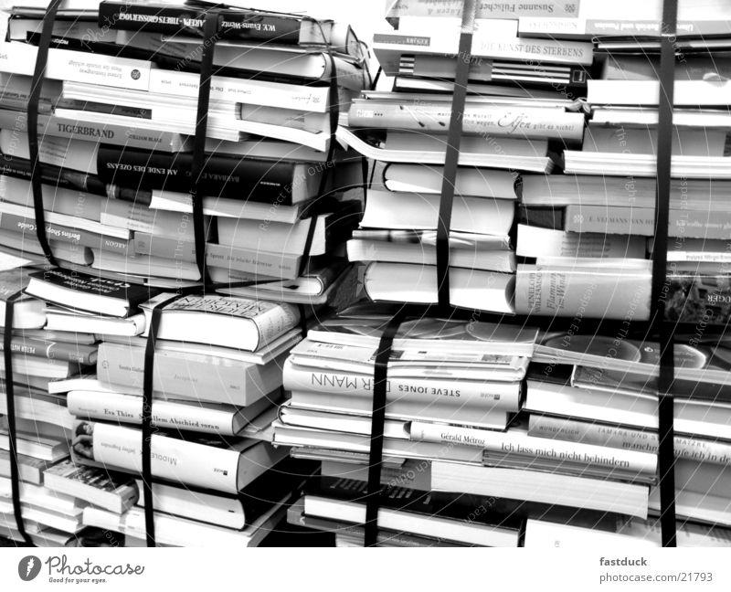 prepackaged knowledge Book fair Frankfurt Novel Stack Library Selection Black & white photo Bookshop Literature